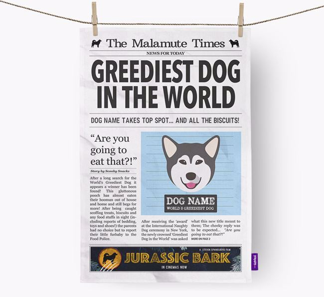 The Mally Times 'Greediest Dog In The World' Personalised Tea Towel