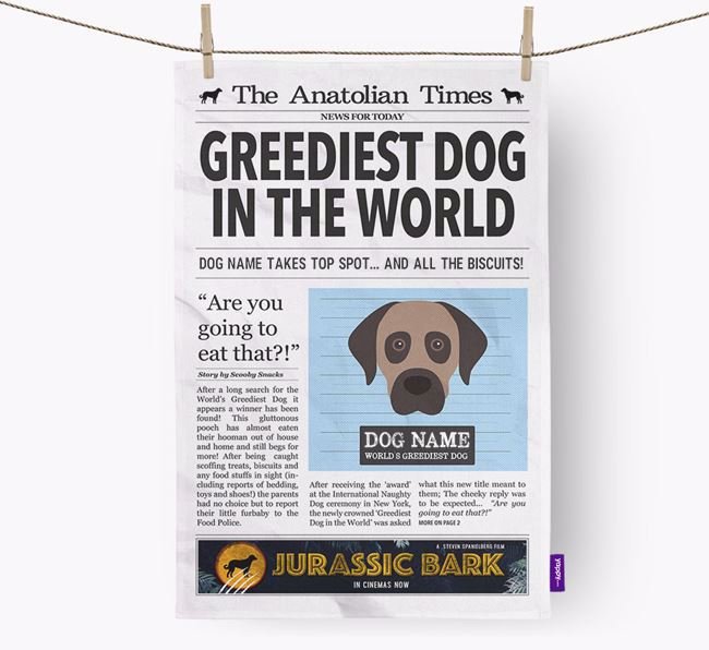 The Anatolian Times 'Greediest Dog In The World' Personalised Tea Towel
