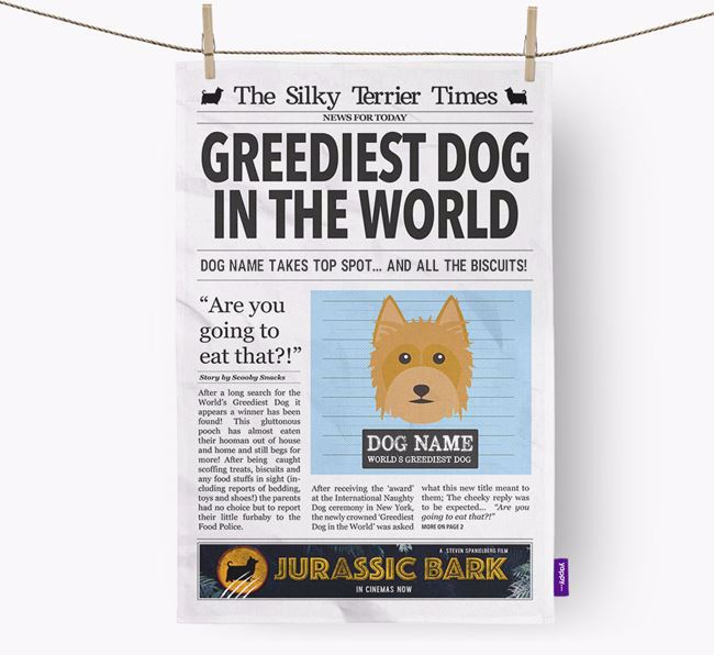 The Silky Times 'Greediest Dog In The World' Personalised Tea Towel