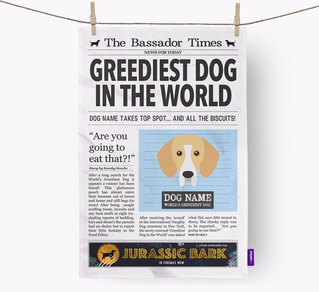 The Bassador Times 'Greediest Dog In The World' Personalised Tea Towel