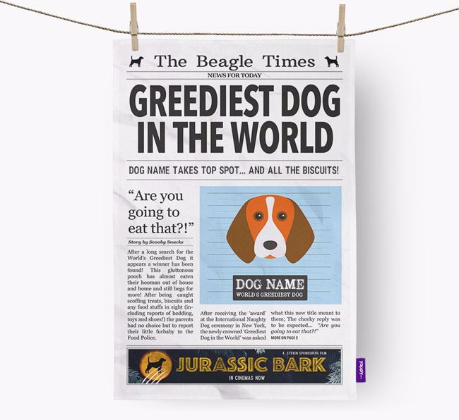 The Beagle Times 'Greediest Dog In The World' Personalised Tea Towel