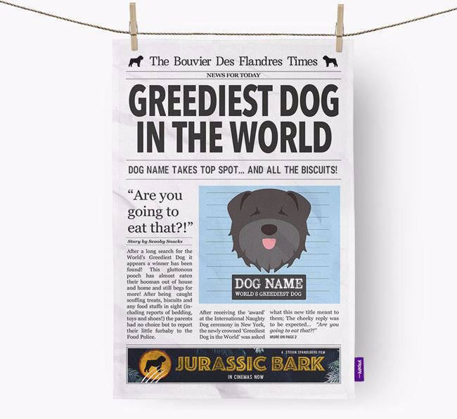 The Bouvier Times 'Greediest Dog In The World' Personalised Tea Towel