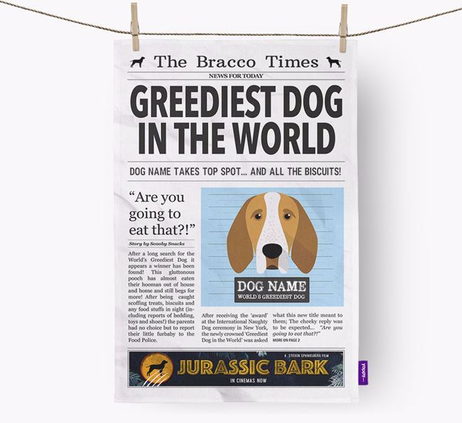 The Bracco Times 'Greediest Dog In The World' Personalised Tea Towel