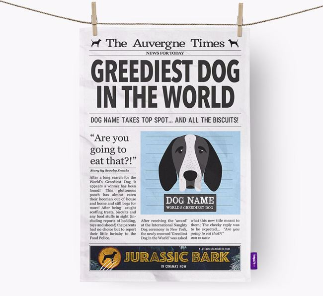 The Auvergne Times 'Greediest Dog In The World' Personalised Tea Towel