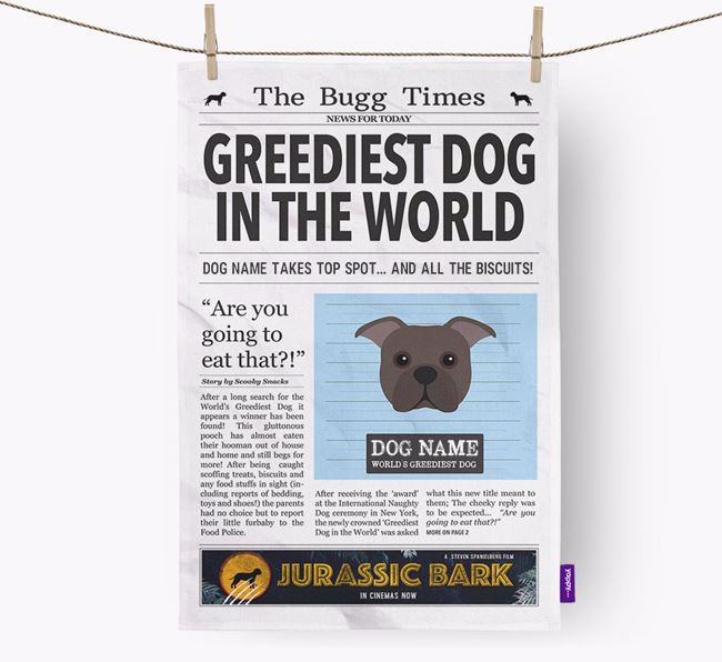 The Bugg Times 'Greediest Dog In The World' Personalised Tea Towel