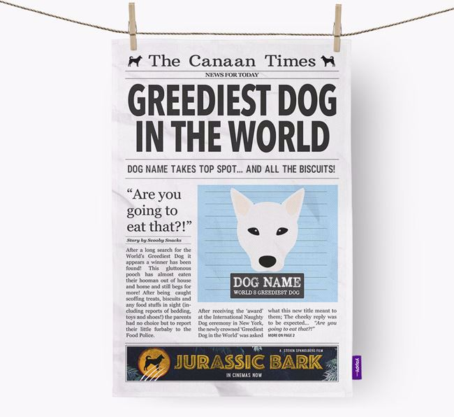 The Canaan  Times 'Greediest Dog In The World' Personalised Tea Towel