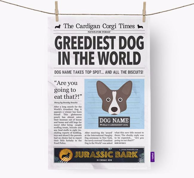 The Corgi Times 'Greediest Dog In The World' Personalised Tea Towel