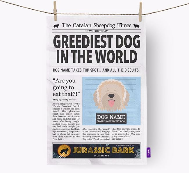 The Catalan Times 'Greediest Dog In The World' Personalised Tea Towel