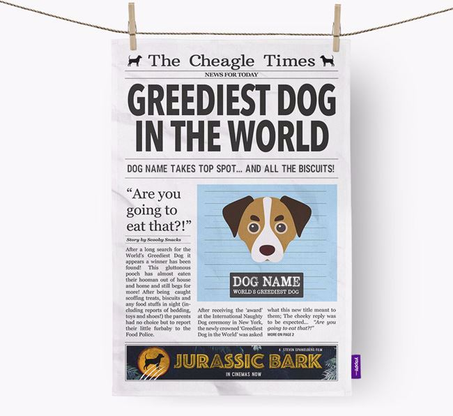 The Cheagle Times 'Greediest Dog In The World' Personalised Tea Towel