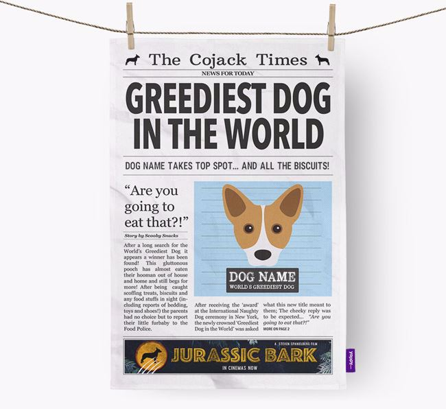 The Cojack Times 'Greediest Dog In The World' Personalised Tea Towel