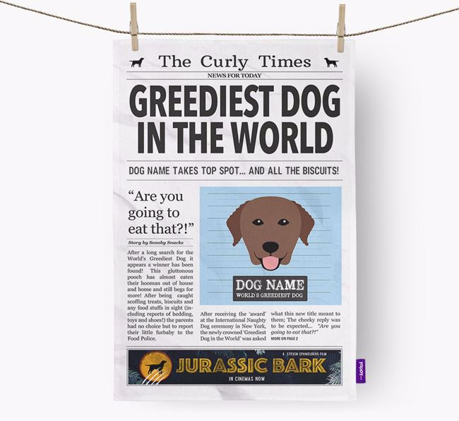 The Curly Times 'Greediest Dog In The World' Personalised Tea Towel
