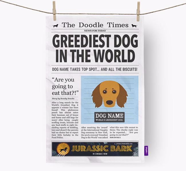 The Doodle Times 'Greediest Dog In The World' Personalised Tea Towel