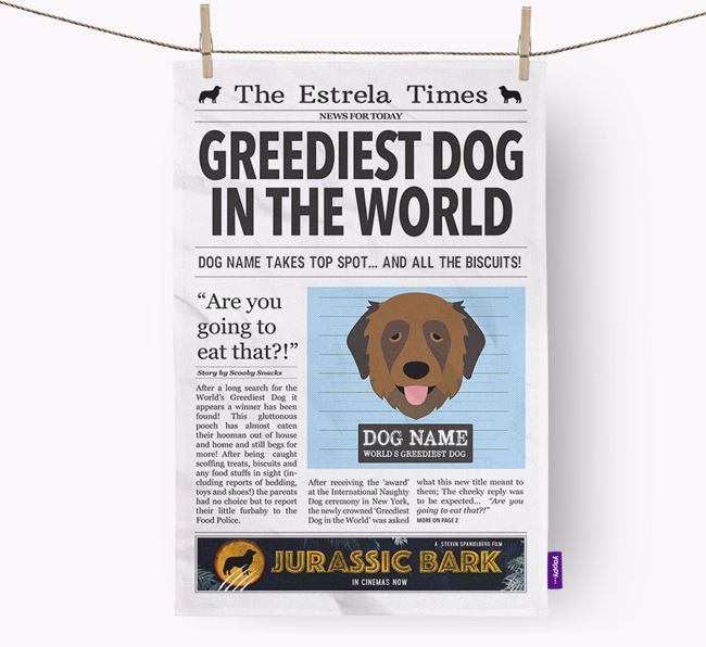 The Estrela Times 'Greediest Dog In The World' Personalised Tea Towel
