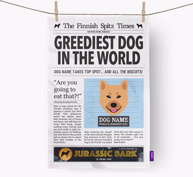 The Finkie Times 'Greediest Dog In The World' Personalised Tea Towel