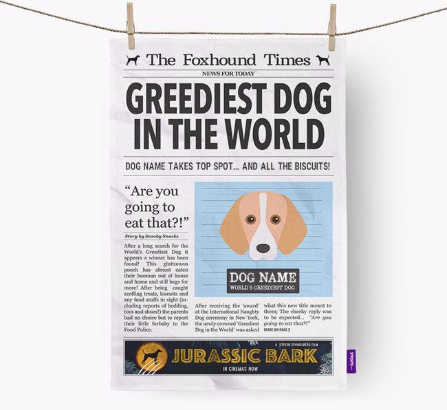 The Foxhound Times 'Greediest Dog In The World' Personalised Tea Towel
