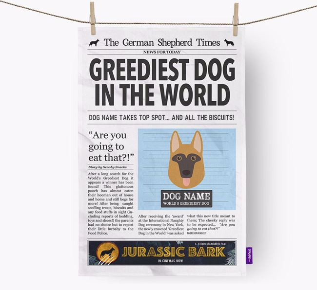 The German Shepherd Times 'Greediest Dog In The World' Personalised Tea Towel