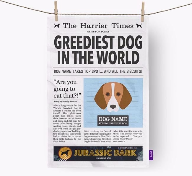 The Harrier Times 'Greediest Dog In The World' Personalised Tea Towel