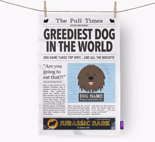 The Puli Times 'Greediest Dog In The World' Personalised Tea Towel