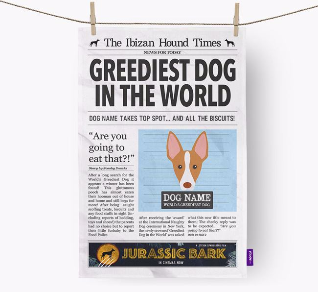 The Beezer Times 'Greediest Dog In The World' Personalised Tea Towel
