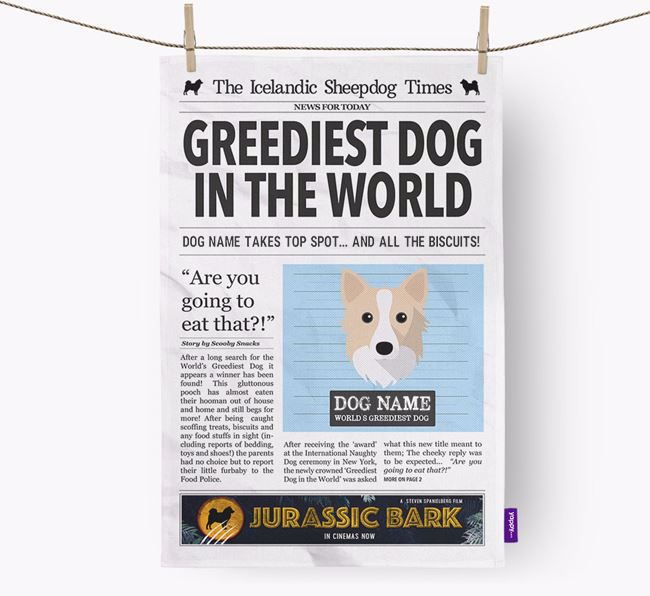 The Icelandic Spitz Times 'Greediest Dog In The World' Personalised Tea Towel