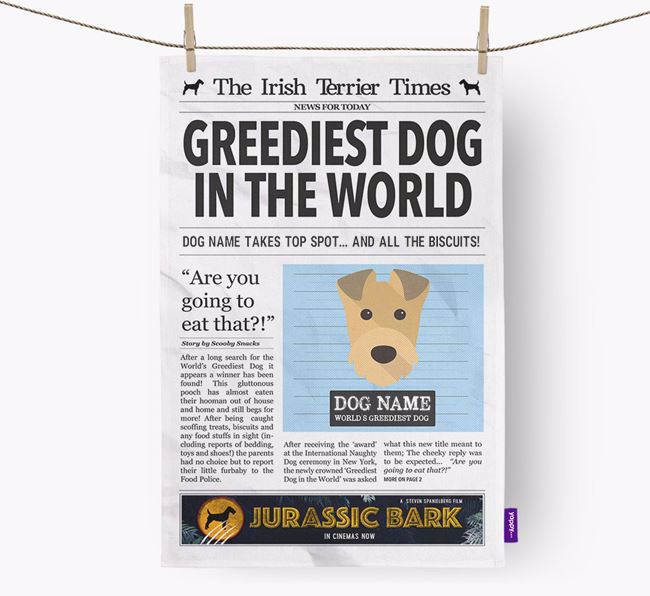 The Irish Terrier Times 'Greediest Dog In The World' Personalised Tea Towel