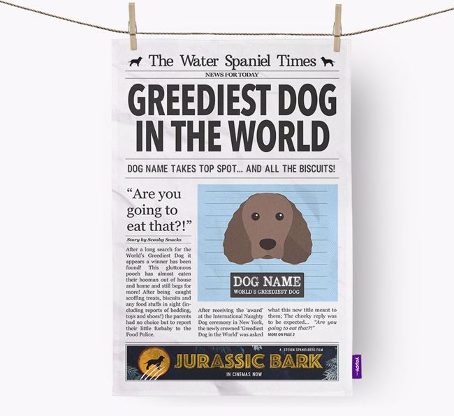 The Water Spaniel Times 'Greediest Dog In The World' Personalised Tea Towel