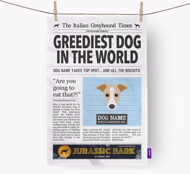 The Iggy Times 'Greediest Dog In The World' Personalised Tea Towel