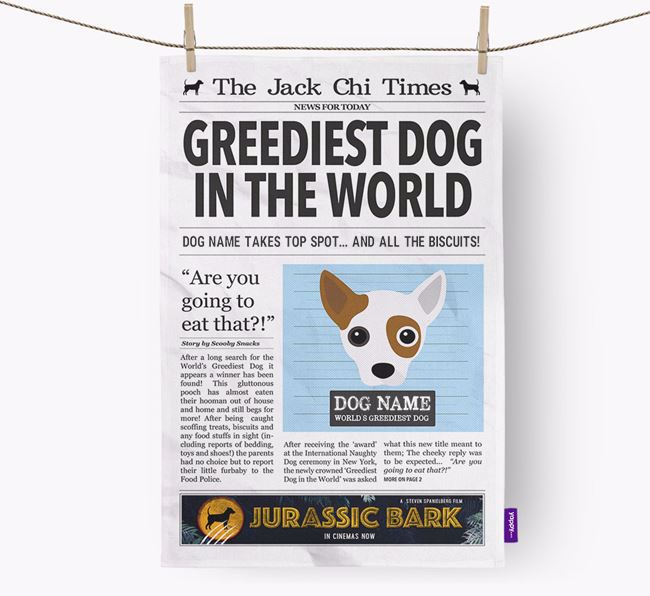 The Jack Chi Times 'Greediest Dog In The World' Personalised Tea Towel