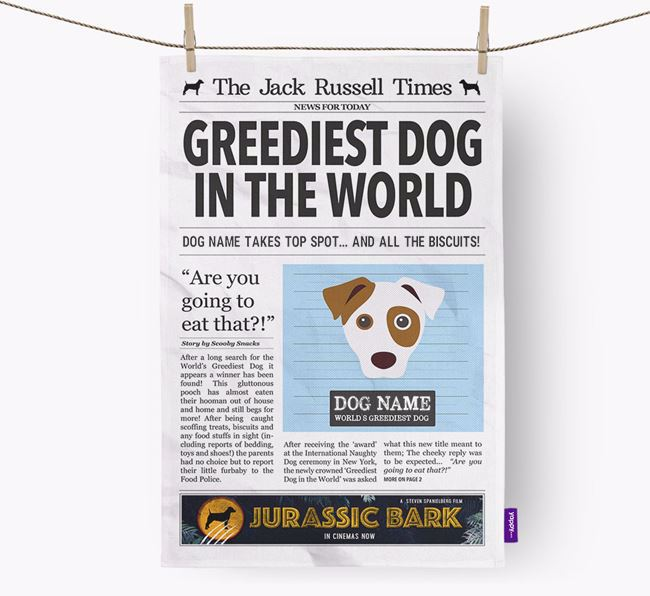 The Jack Russell Times 'Greediest Dog In The World' Personalised Tea Towel