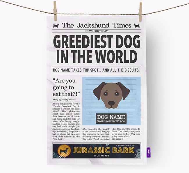 The Jackshund Times 'Greediest Dog In The World' Personalised Tea Towel