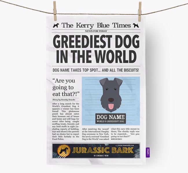 The Kerry Times 'Greediest Dog In The World' Personalised Tea Towel