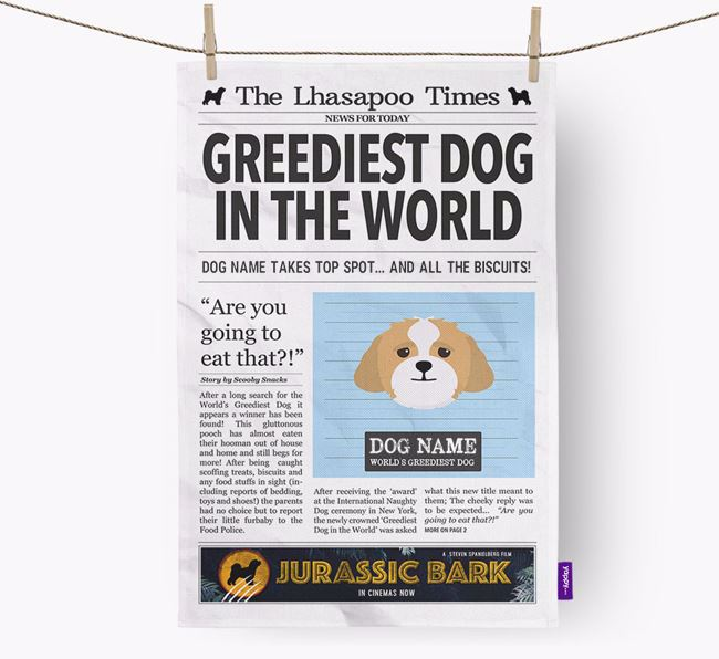 The Lhasapoo Times 'Greediest Dog In The World' Personalised Tea Towel
