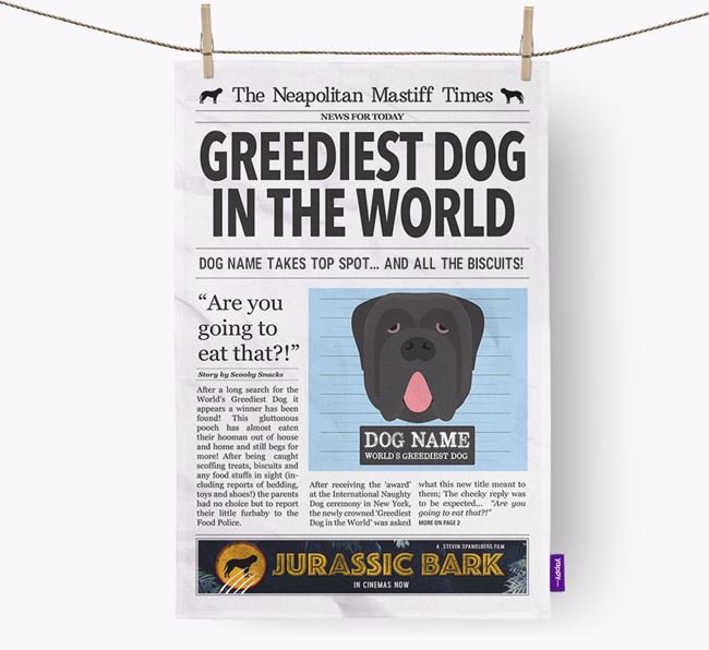 The Neo Times 'Greediest Dog In The World' Personalised Tea Towel