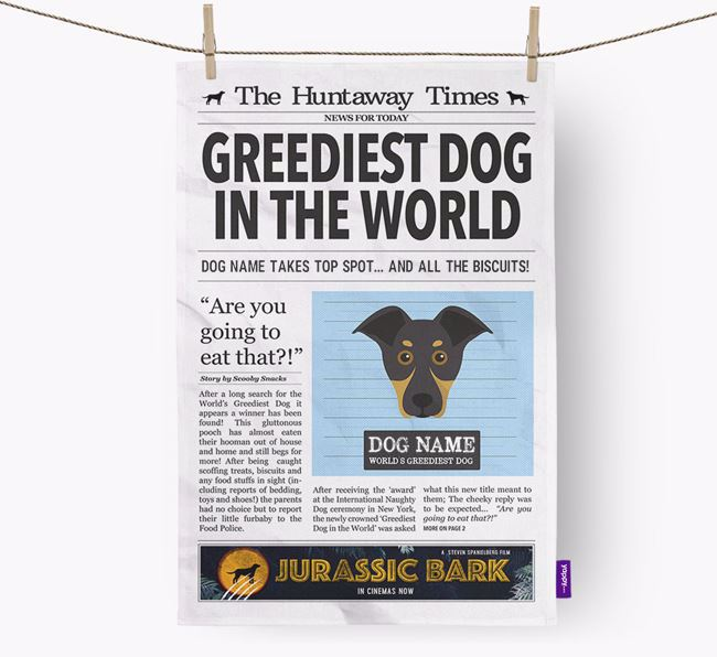 The Huntaway Times 'Greediest Dog In The World' Personalised Tea Towel