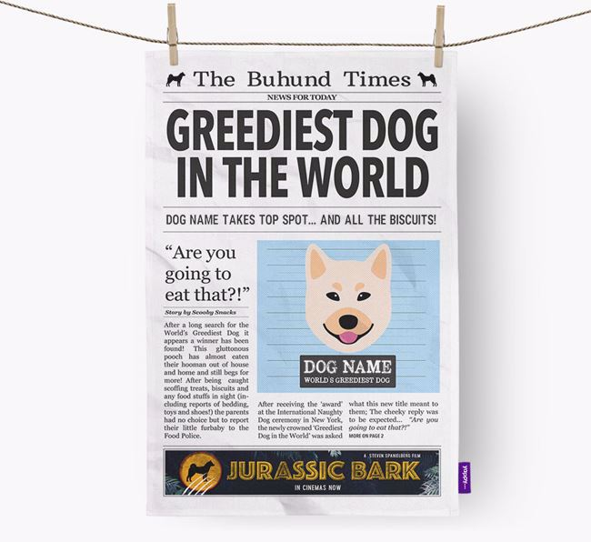The Buhund Times 'Greediest Dog In The World' Personalised Tea Towel