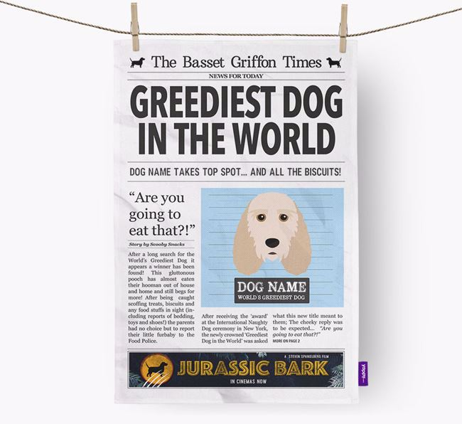 The Basset Griffon Times 'Greediest Dog In The World' Personalised Tea Towel