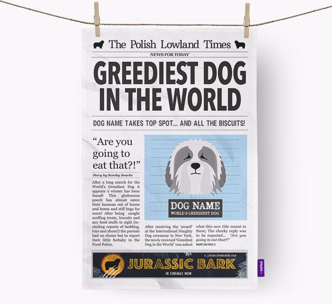 The Nizinny Times 'Greediest Dog In The World' Personalised Tea Towel