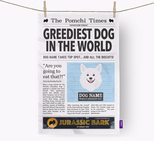 The Pomchi Times 'Greediest Dog In The World' Personalised Tea Towel
