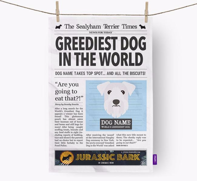 The Sealyham Times 'Greediest Dog In The World' Personalised Tea Towel