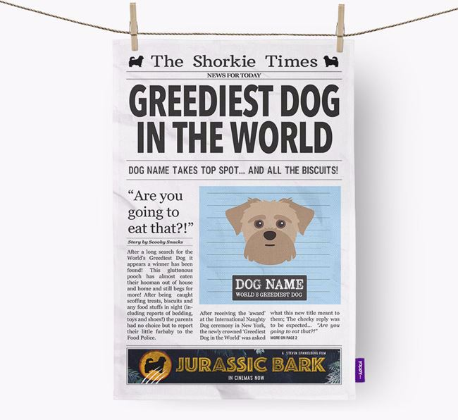 The Shorkie Times 'Greediest Dog In The World' Personalised Tea Towel