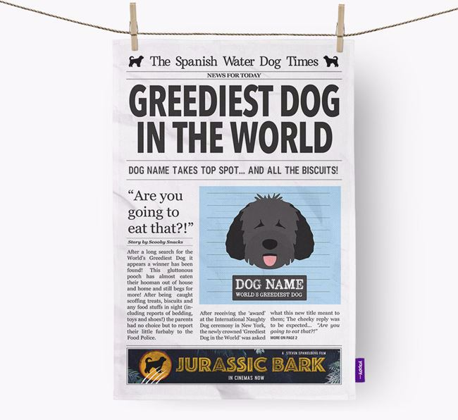 The Water Dog Times 'Greediest Dog In The World' Personalised Tea Towel