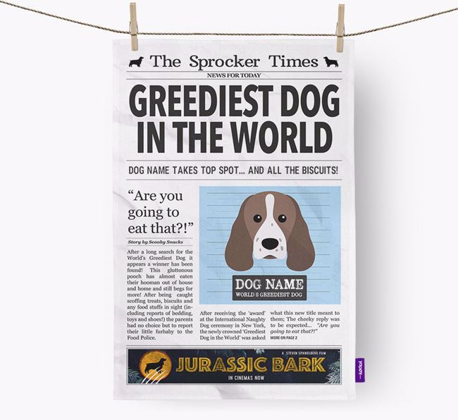 The Sprocker Times 'Greediest Dog In The World' Personalised Tea Towel
