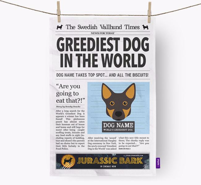 The Vallhund Times 'Greediest Dog In The World' Personalised Tea Towel