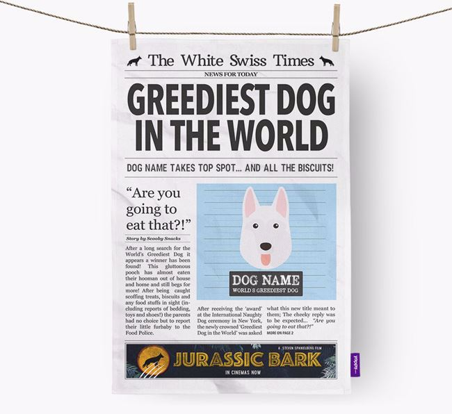 The White Swiss Times 'Greediest Dog In The World' Personalised Tea Towel