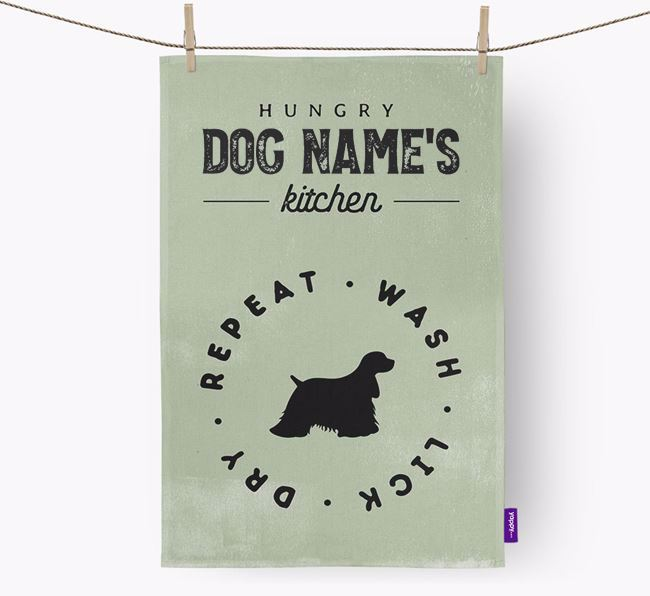 Personalised 'Hungry {dogName}'s Kitchen' Tea Towel