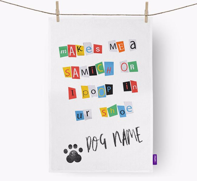 Personalised Ransom Note Tea Towel