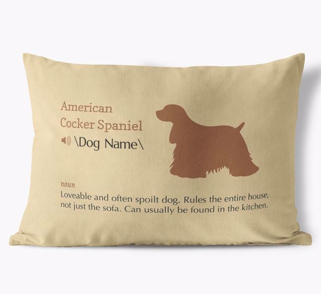 Personalised American Cocker Spaniel Definition Faux Suede Cushion