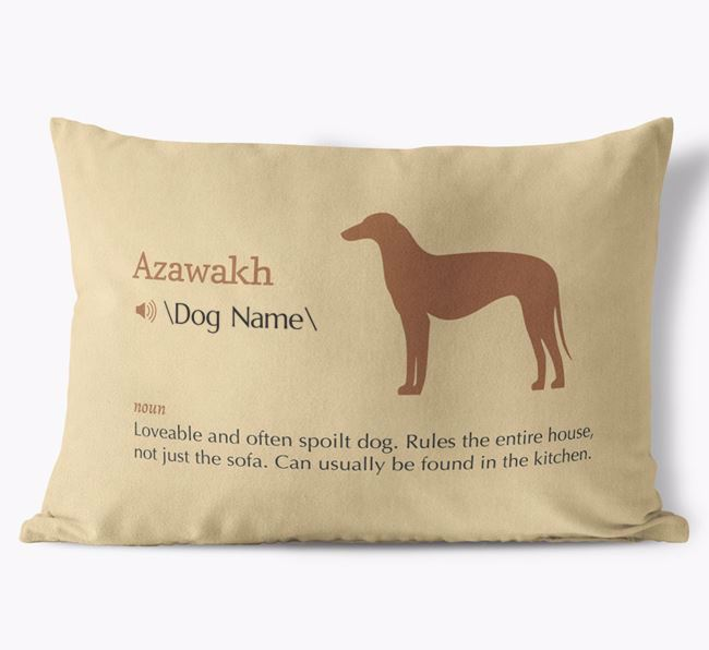Personalised Azawakh Definition Faux Suede Cushion