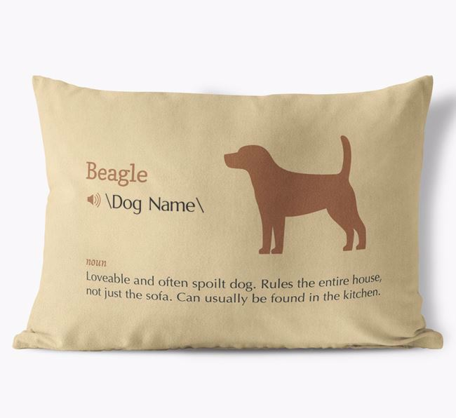 Personalised Beagle Definition Faux Suede Cushion