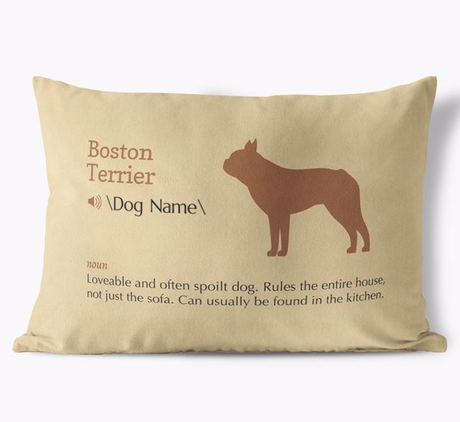 Personalised Boston Terrier Definition Faux Suede Cushion